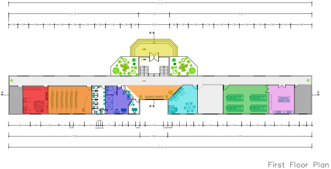 پلان اتوکدی معماری خوابگاه دانشجویی